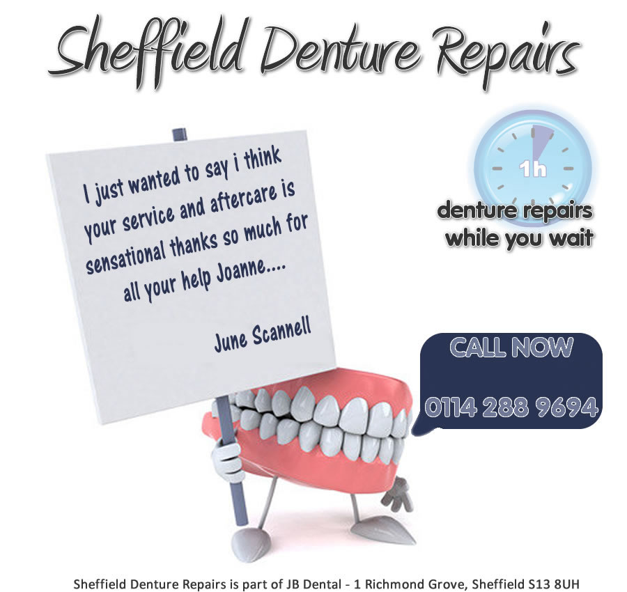 Denture Repairs Sheffield - South Yorkshire - while you wait -  1 hour